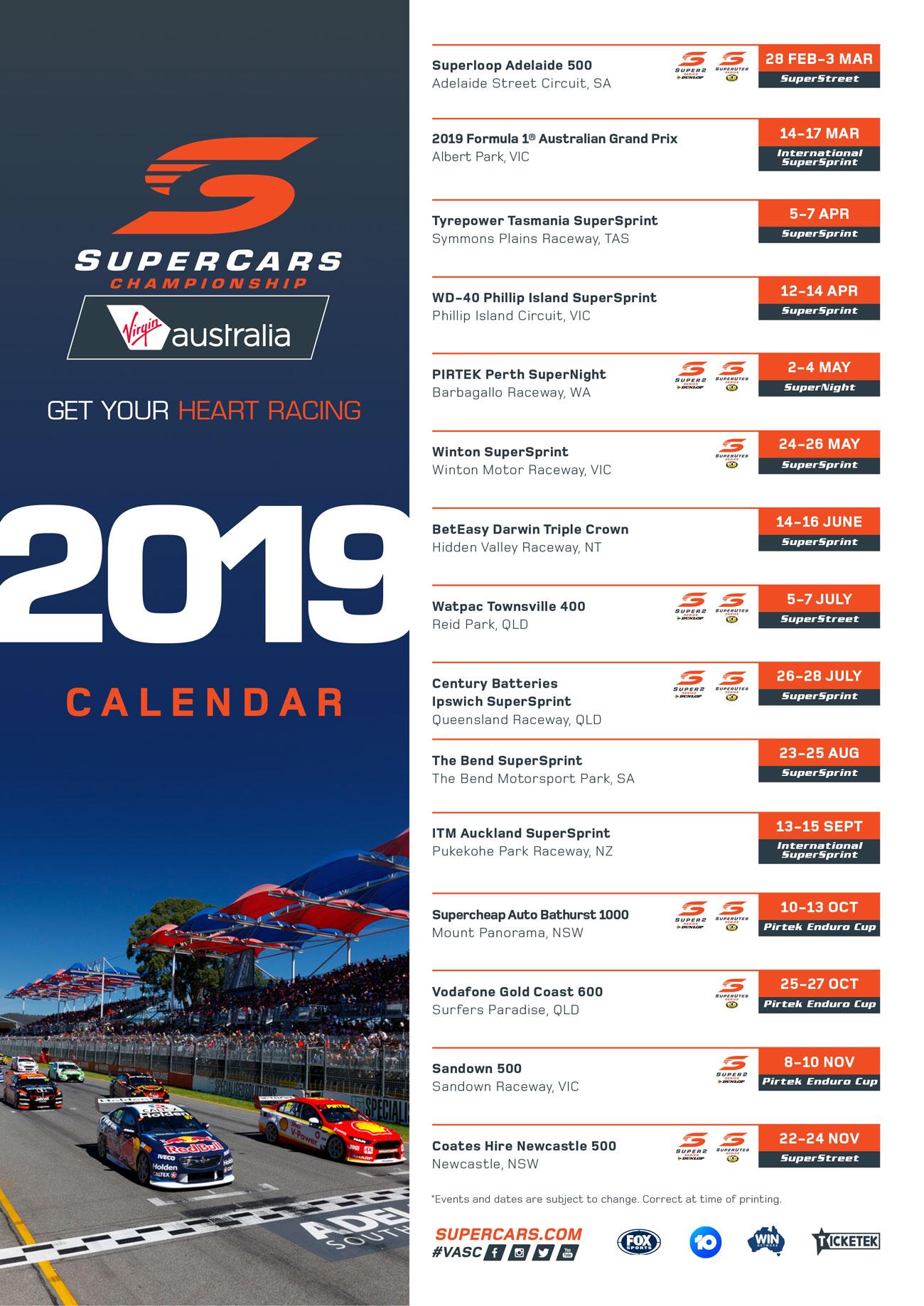 V8 Supercars Calendar 2019 Calendar   David Reynolds